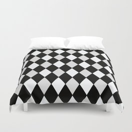 Harlequin Black and White and Gray Duvet Cover