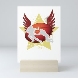 Football Contact Team Sports Rugger Rugby Ball With Wings Union Gift Mini Art Print