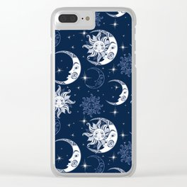 Super Dark Sun & Moon Pattern Clear iPhone Case