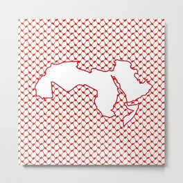 Map of the Arab world - Red Metal Print