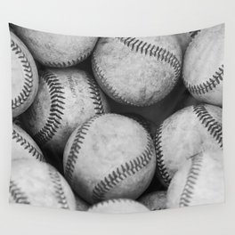 Baseballs Black & White Graphic Illustration Design Wall Tapestry