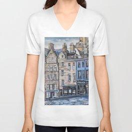 Old Town Edinburgh Unisex V-Neck