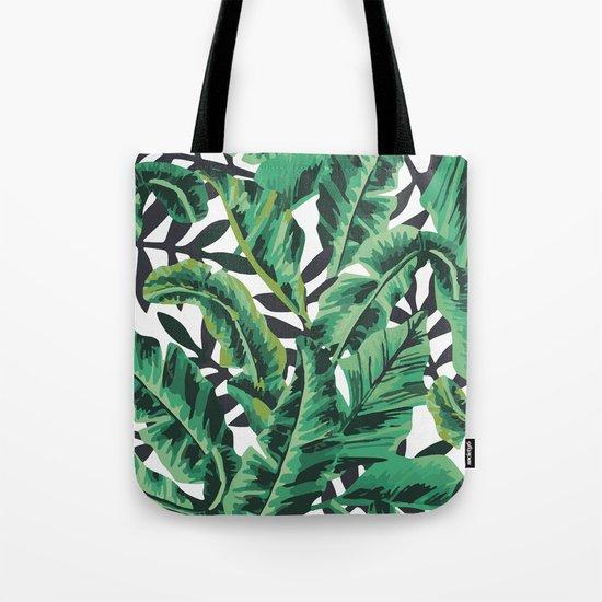 Tropical Glam Banana Leaf Print Tote Bag