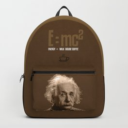 e=mc2, energy, milk, coffee Backpack