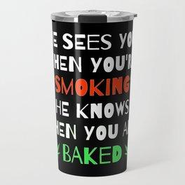 Weed and Cannabis Smoking 420 Marijuana Christmas  Travel Mug