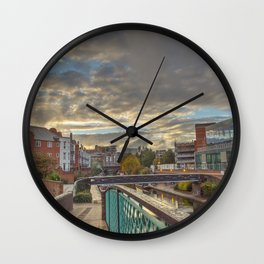 Foot Bridge at Gas Street Basin Wall Clock
