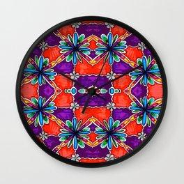 Purple and Orange Flowers Wall Clock