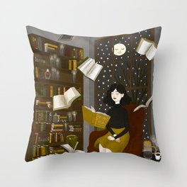 floating books Throw Pillow