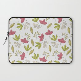 Pink green ivory hand painted autumn leaves pattern Laptop Sleeve