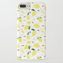 Lemons Blossoms and Bees Pattern iPhone Case