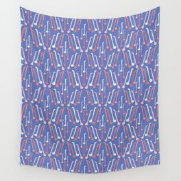 Tea Spoons Vector Cutlery Pattern Blue Wall Tapestry