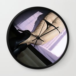 Light and curves, shadow play on sexy body, nude girl in heels, panties down, hot sexy pose Wall Clock
