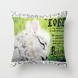 The Lord Restores Psalm 23 Throw Pillow