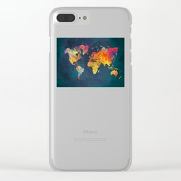 World Map blue Clear iPhone Case