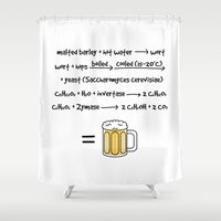 beer Shower Curtains featuring Beer by science fried art
