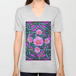 Mystical Wild Pink Celtic Roses Teal Purple Art Unisex V-Neck