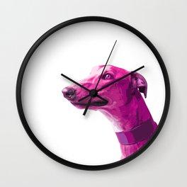 Pink Greyhound. Pop art dog. Wall Clock