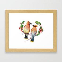 Cedar Waxwing Love Framed Art Print