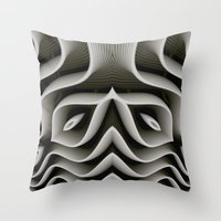 exo Throw Pillows featuring Exo-skelton 3D Optical Illusion by BohemianBound