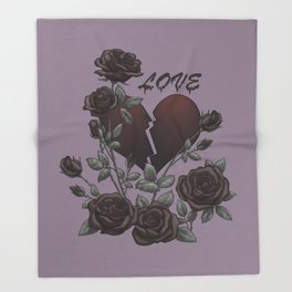 Black Roses Broken Heart Lost Love Throw Blanket