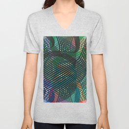 Abstract Circles and Lines Chaos Unisex V-Neck