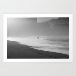 Bodyboarder at sunset. Art Print