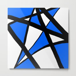 China Blue Geometric Triangle Abstract Metal Print