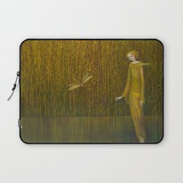 Dragonfly in Fields of Gold - Magical Realism Laptop Sleeve