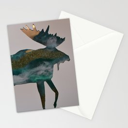 Moose - ocean gold Stationery Cards