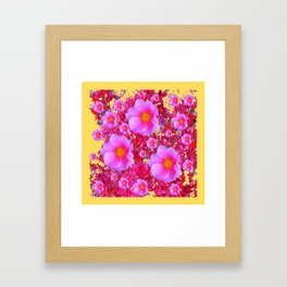 Golden Design Fuchsia Roses Floral Garden Art Framed Art Print