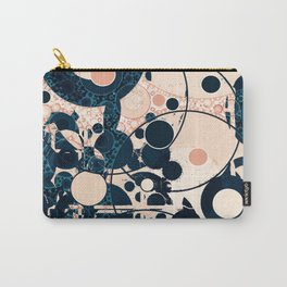 Distressed Navy and Peach Bubble Design Carry-All Pouch