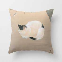Cat and Plum Blossoms Japanese Painting Throw Pillow