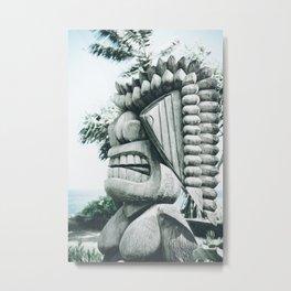 Ku Tiki Retro Powder Blue Kuau Metal Print
