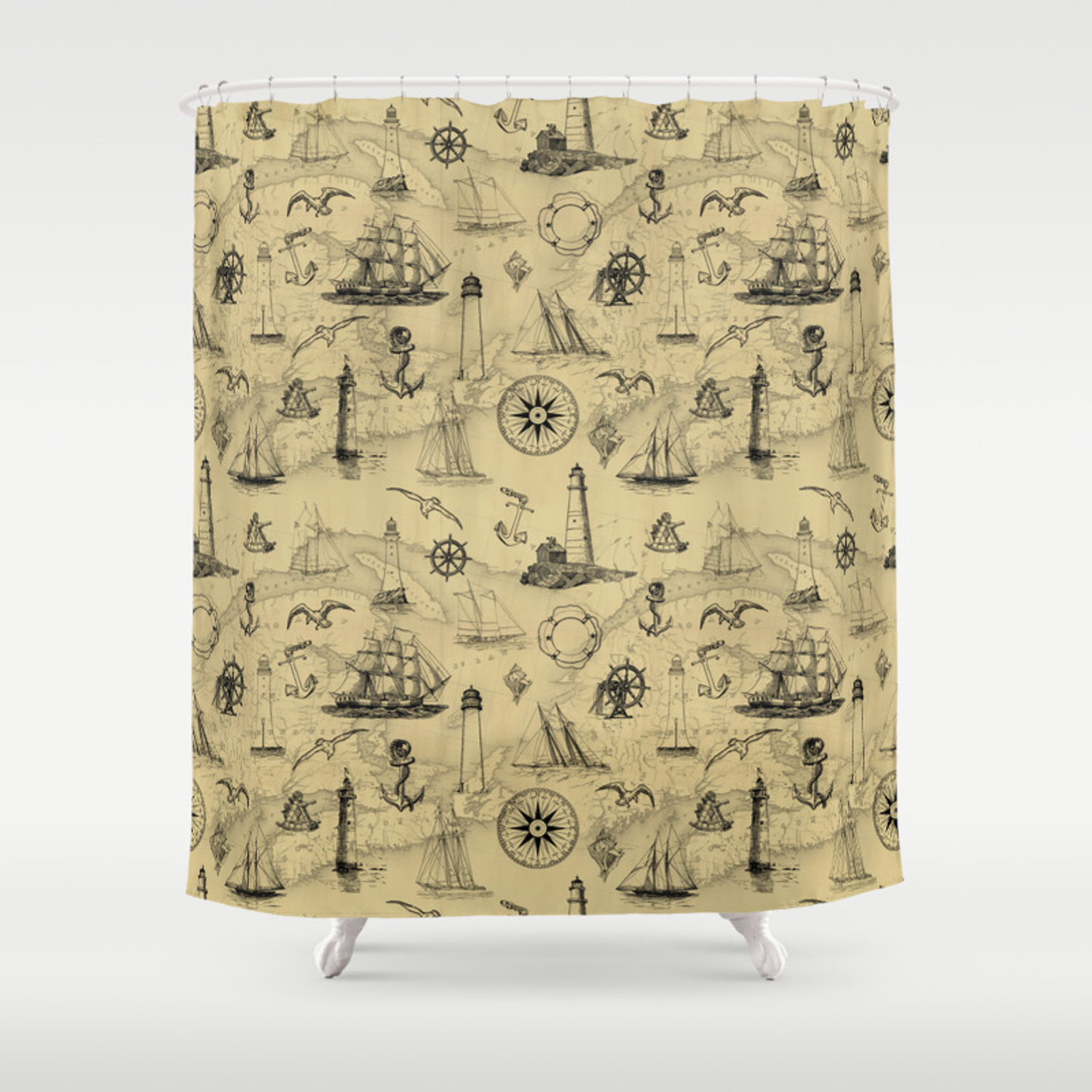 Old Map Background with Vintage Nautical Pattern Shower Curtain Old Map Background on magazine background, newspaper background, old nautical maps, paper background, wood background, old world cartography, key background, old wallpaper, bouquet background, old compass, old boats, old us highway maps, old treasure maps, space background, city background,
