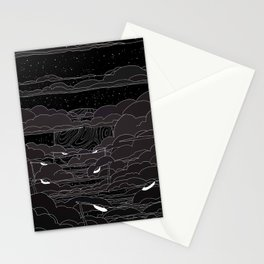 white ink 04 - city in the sky Stationery Cards