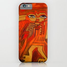 Indigenous Inca Ceremonial Shaman and Firebird portrait painting by Ortega Maila iPhone Case