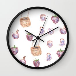 strawberry picnic and potions Wall Clock