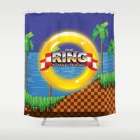video game Shower Curtains featuring Retro Platform Video game poster  by Nick's Emporium Gallery