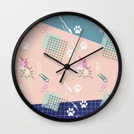 Memphis.Colorful retro pattern. Wall Clock
