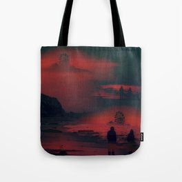 Carnival at the Beach Bathed by the Red Sunset Tote Bag