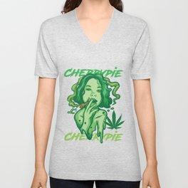 Cherry Weed Gift Men & Women Marijuana graphic Unisex V-Neck