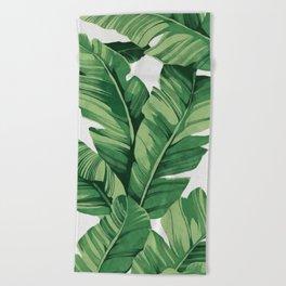 Tropical banana leaves Beach Towel
