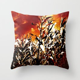 Fire in the corn field Throw Pillow