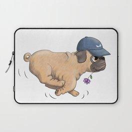 Cute Pug Running, Wearing a Baseball Cap Laptop Sleeve