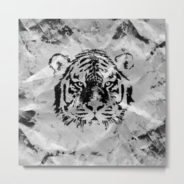 Black and white Tiger portrait  on paper canvas Metal Print