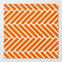 Bright orange and white herringbone pattern Canvas Print