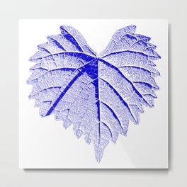 backlight leaf drawing, blue Metal Print