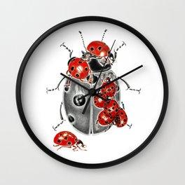 Siege of ladybugs Wall Clock