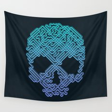 Labyrinthine Skull - Neon Wall Tapestry
