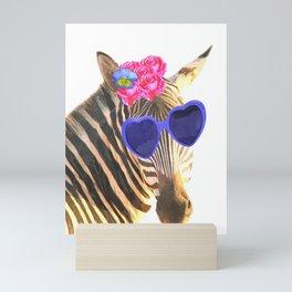 Zebra funny animal illustration Mini Art Print